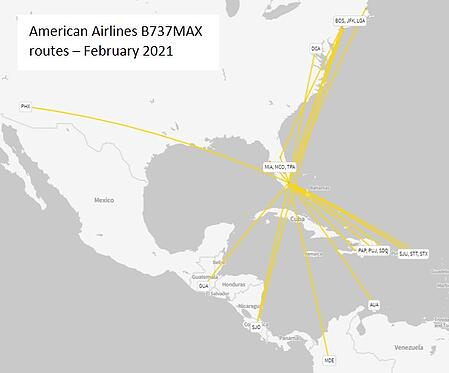 American Airlines B737MAX routes Feb 2021 OAG