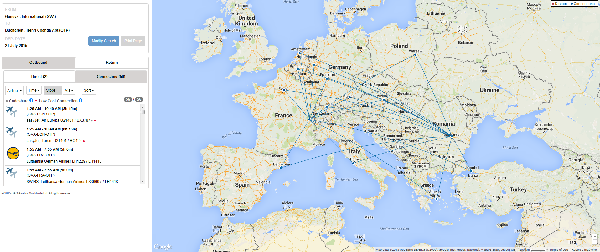 A configurable airport route map to promote your connectivity