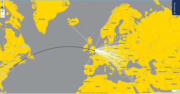 Branded airline flight route map